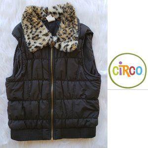 Circo Black Faux Fur Puffer Vest Size Large